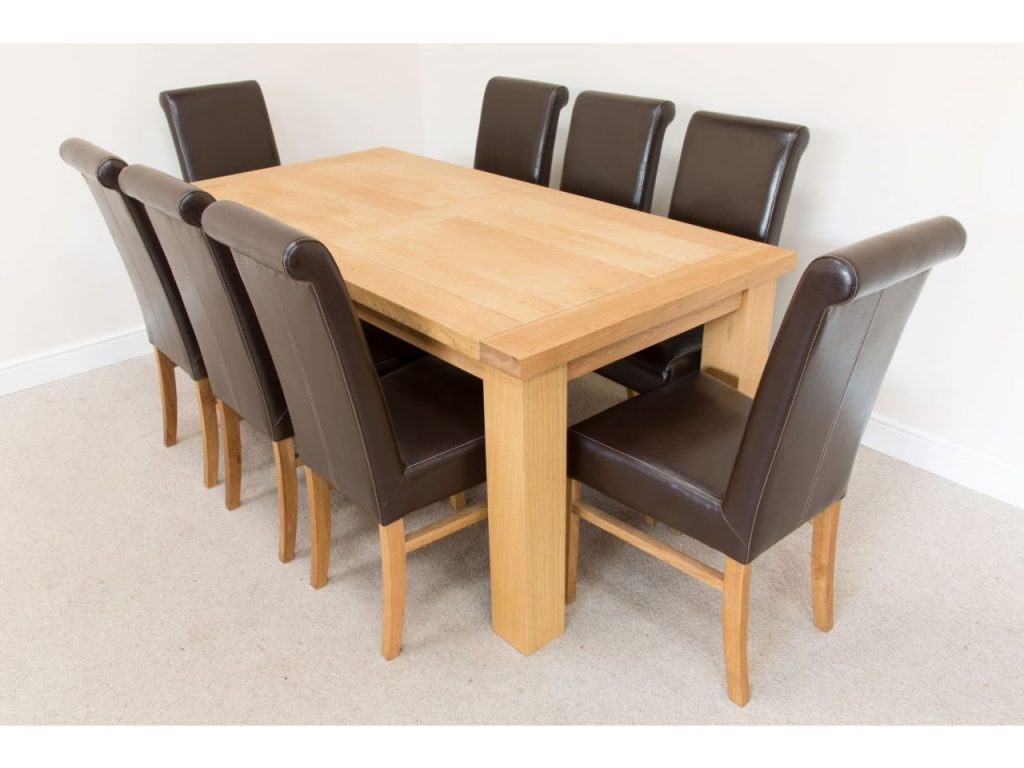 18m Riga Oak Dining Table 8 Emperor Brown Leather Dining Chairs