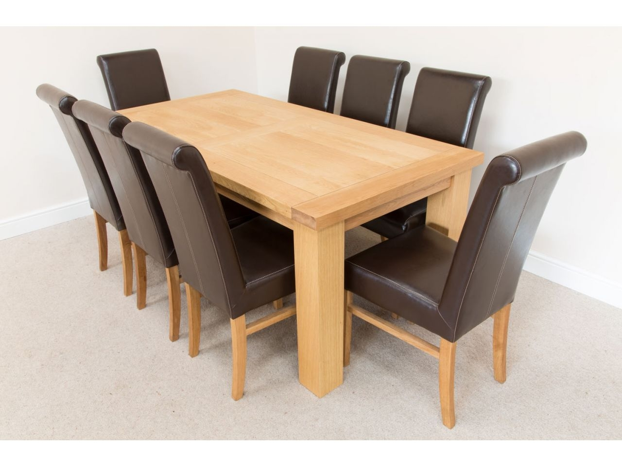 18m Riga Oak Dining Table 8 Emperor Brown Leather Dining Chairs Layjao