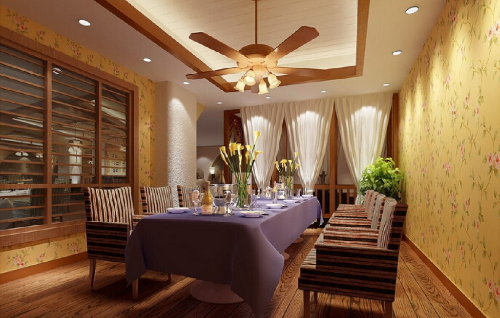 3d Living Dining Room Ceiling Fan And Pendant Lights 3d House Modern