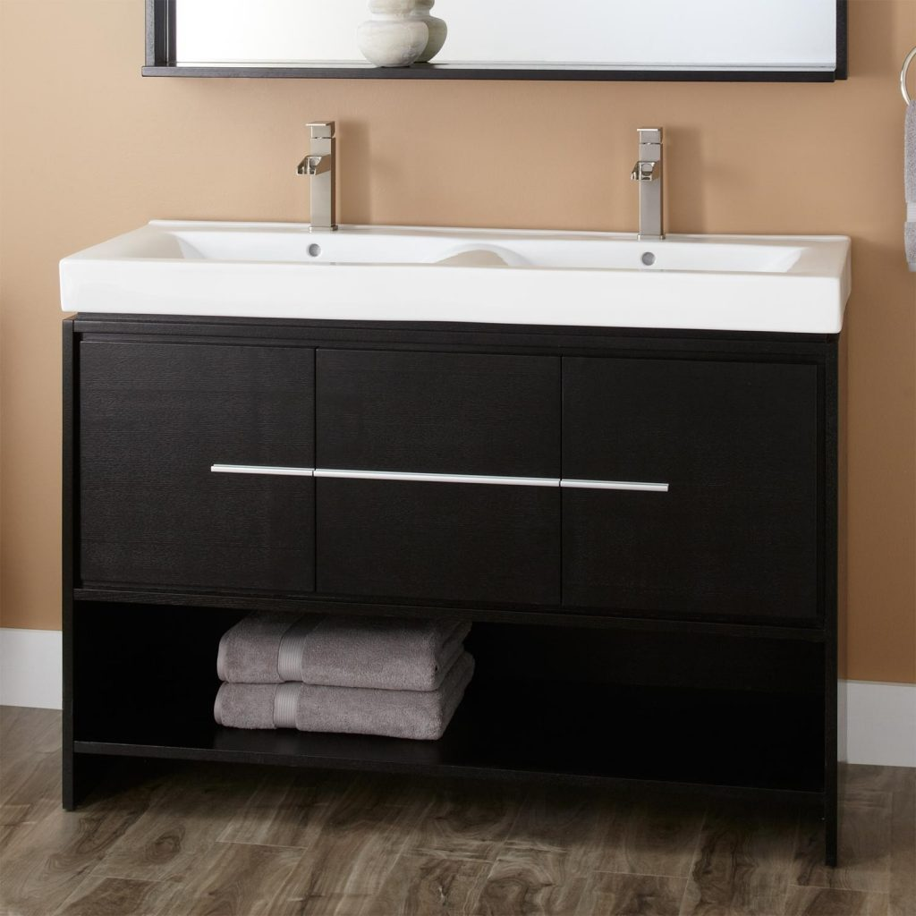 48 Kyra Double Vanity Black Bathroom