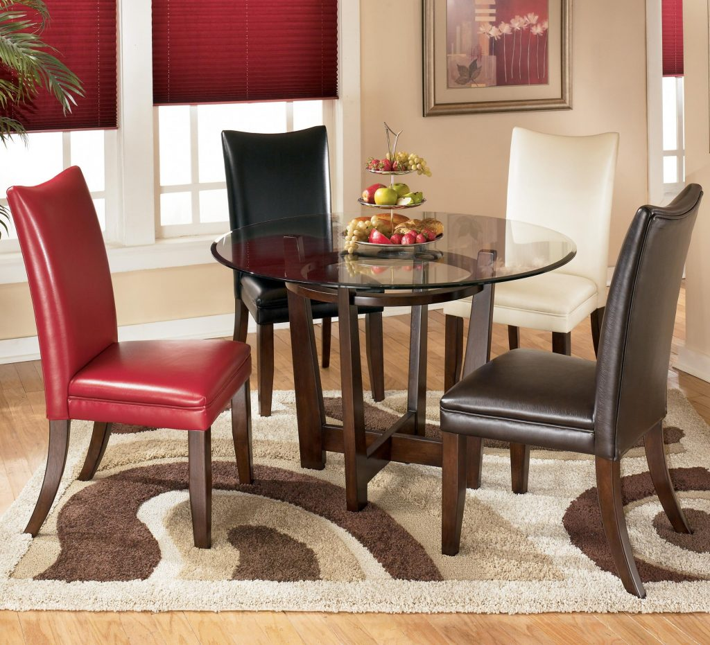 5 Piece Round Dining Table Set With 4 Different Color Upholstered