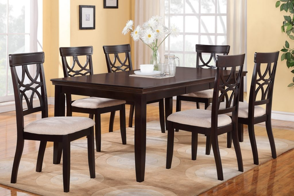 6 Piece Dining Table Set Espresso Finish Huntington Dining Room