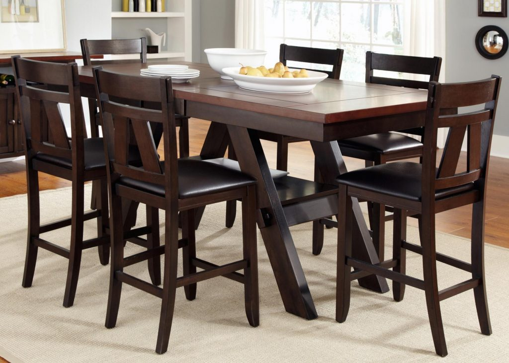 7 Piece Trestle Gathering Table With Counter Height Chairs Set With