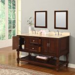70 Mission Style Double Bathroom Vanity Sink Console With White