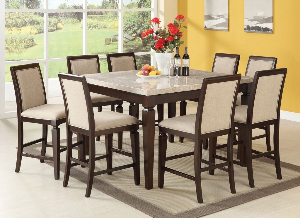 72480 Acme Agatha Counter Height Dining Set White Marble Top
