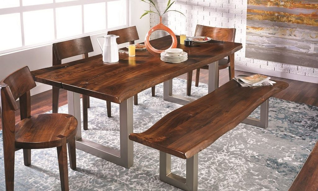 84 Inch Live Edge Acacia And Steel Dining Table The Dump Luxe