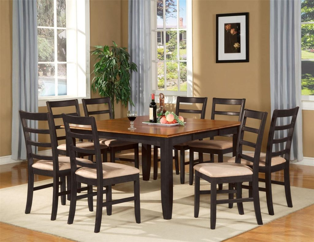 9 Pc Square Dinette Dining Room Table Set And 8 Chairs Ebay Mahogany