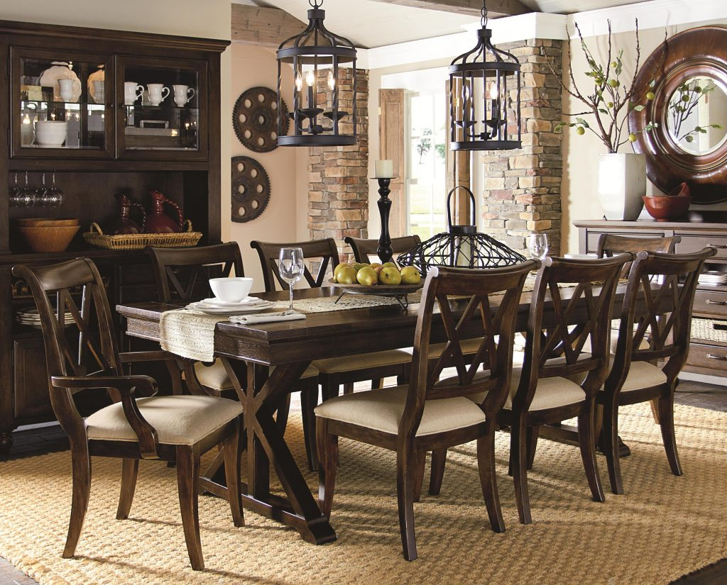 9 Piece Dining Set With X Back Chairs Legacy Classic Wolf And