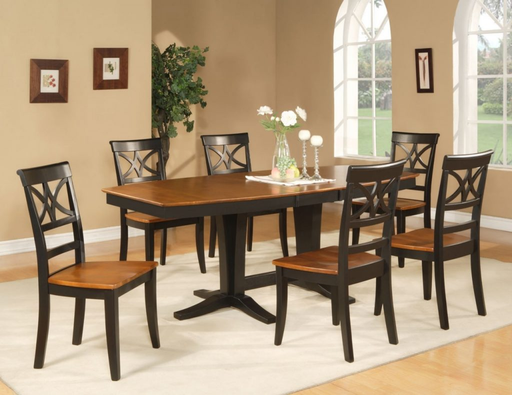 9pc Dining Room Set Table And 8 Wood Seat Chairs In Black