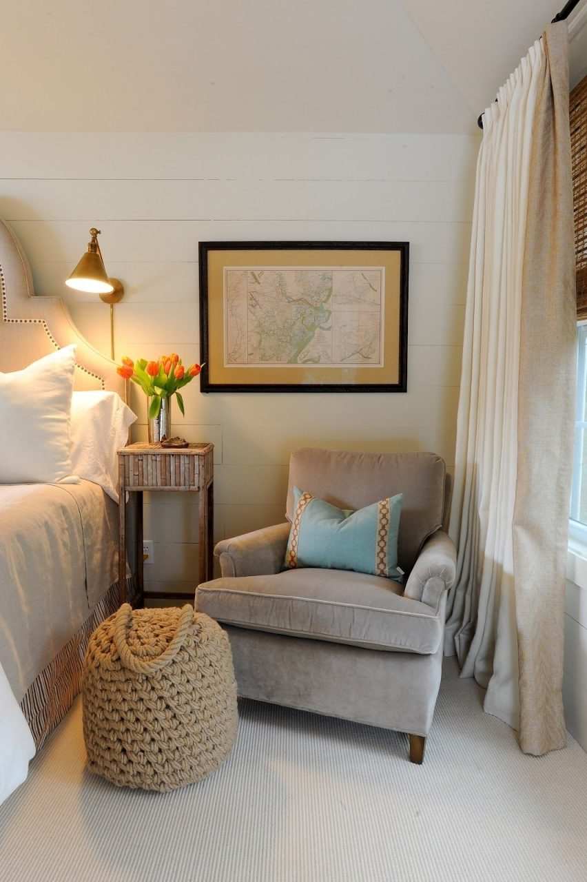 A Cozy Club Chair Adds Warmth To A Master Bedroom Chair On One Side