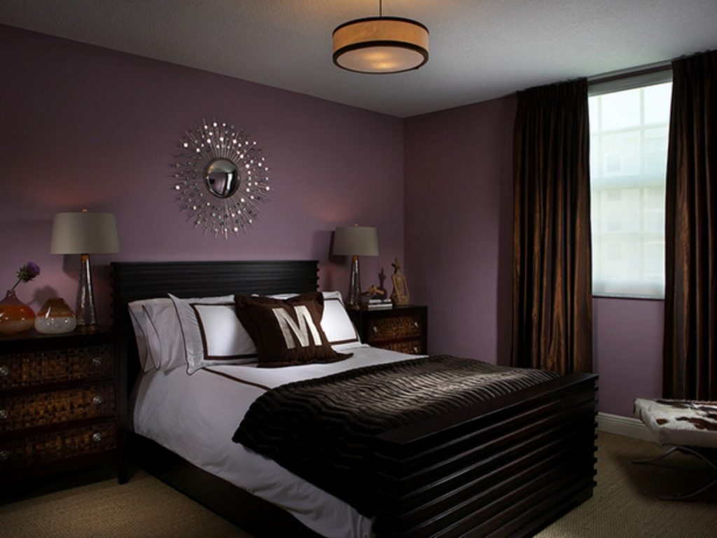 Accent Colors For Purple Bedroom With Chocolate Brown Curtains And