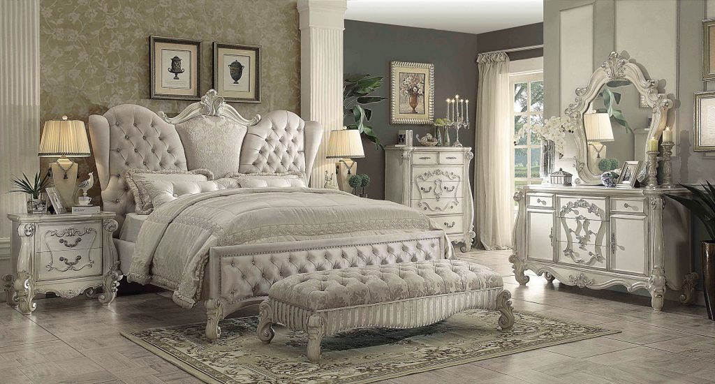 Acme Versailles 4 Piece Upholstered Bedroom Set In Ivory Velvetbone