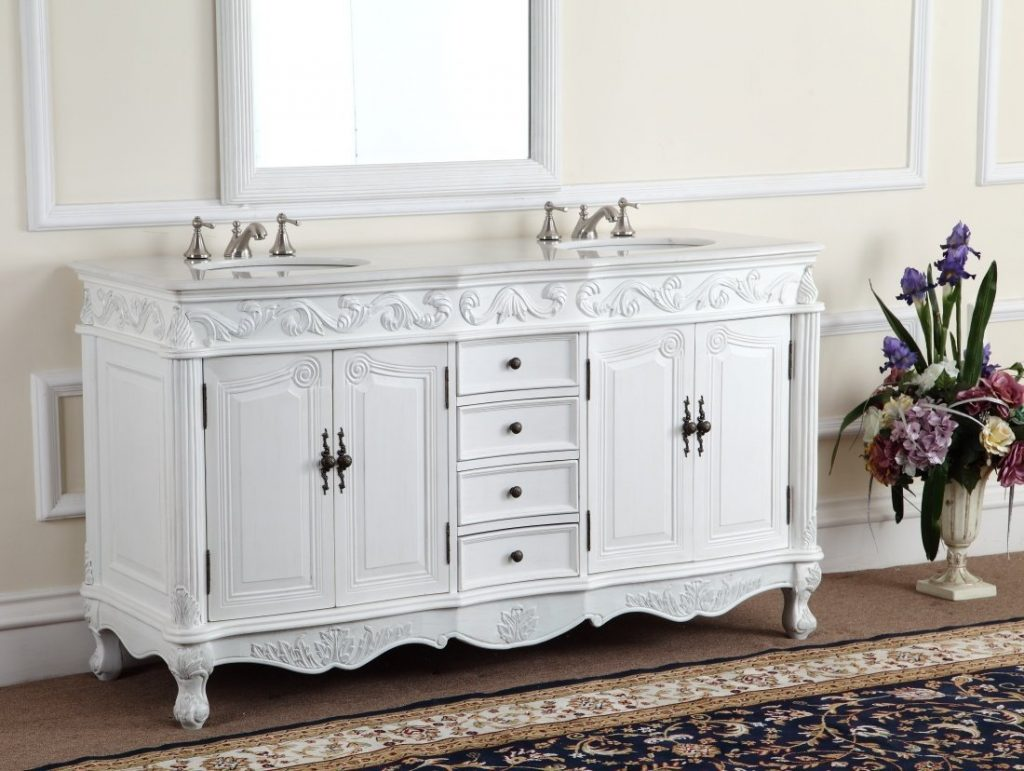 Adelina 64 Inch Antique White Double Bathroom Vanity Fully