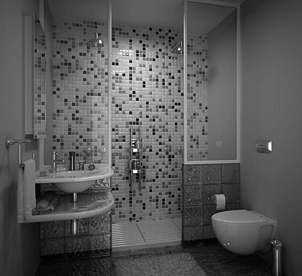 Agreeable Tiny Grey Bathrooms Ideas With Modern Walk In Shower Also
