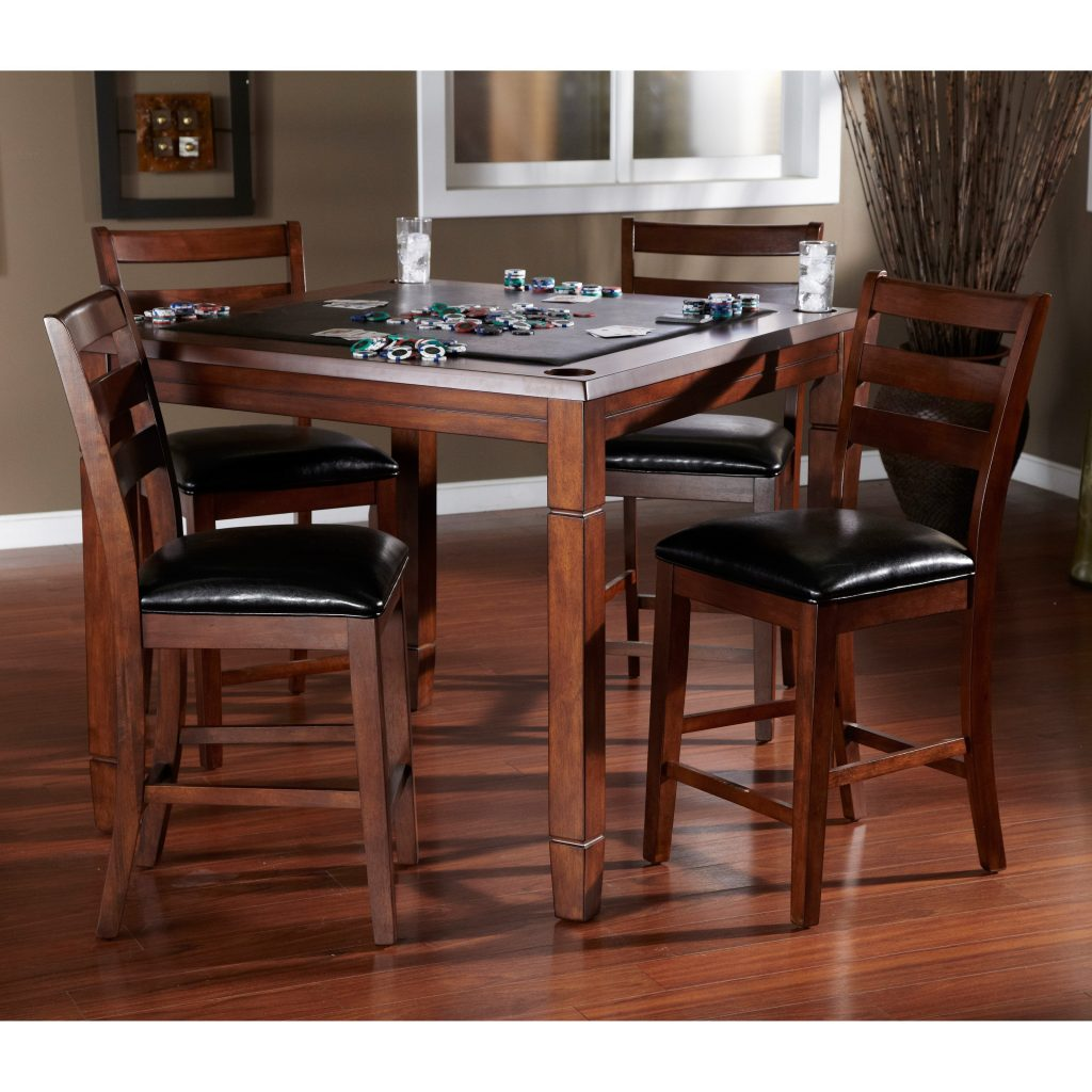Ahb Rosa 5 Piece Dininggame Table Set With Flip Top Mocha Hayneedle