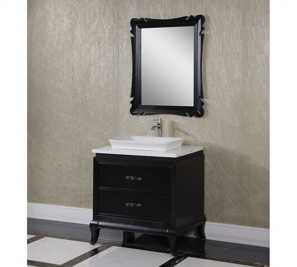 Antique Wk Series 32 Inch Vessel Sink Bathroom Vanity Black Finish