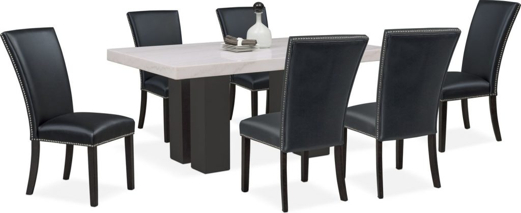 Artemis Dining Table And 6 Upholstered Side Chairs Black Value