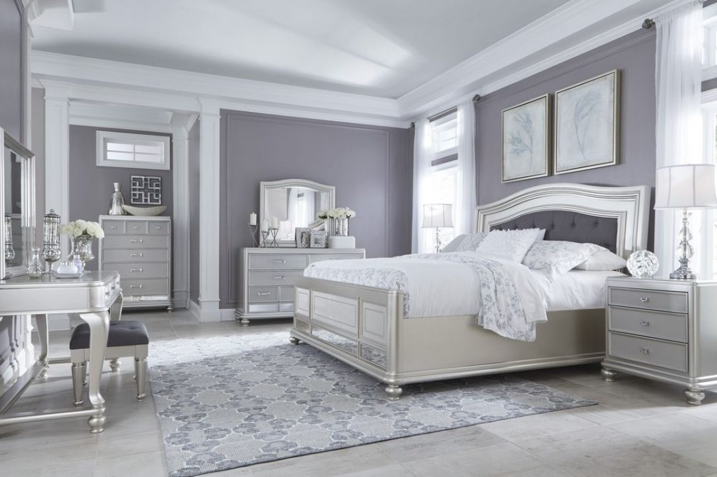 Ashley Furniture Coralayne Panel Bedroom Set In Silver Best Priced
