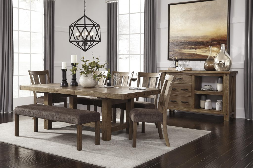 Ashley Furniture Dining Room Table Pad Zenfield With Bench Faux