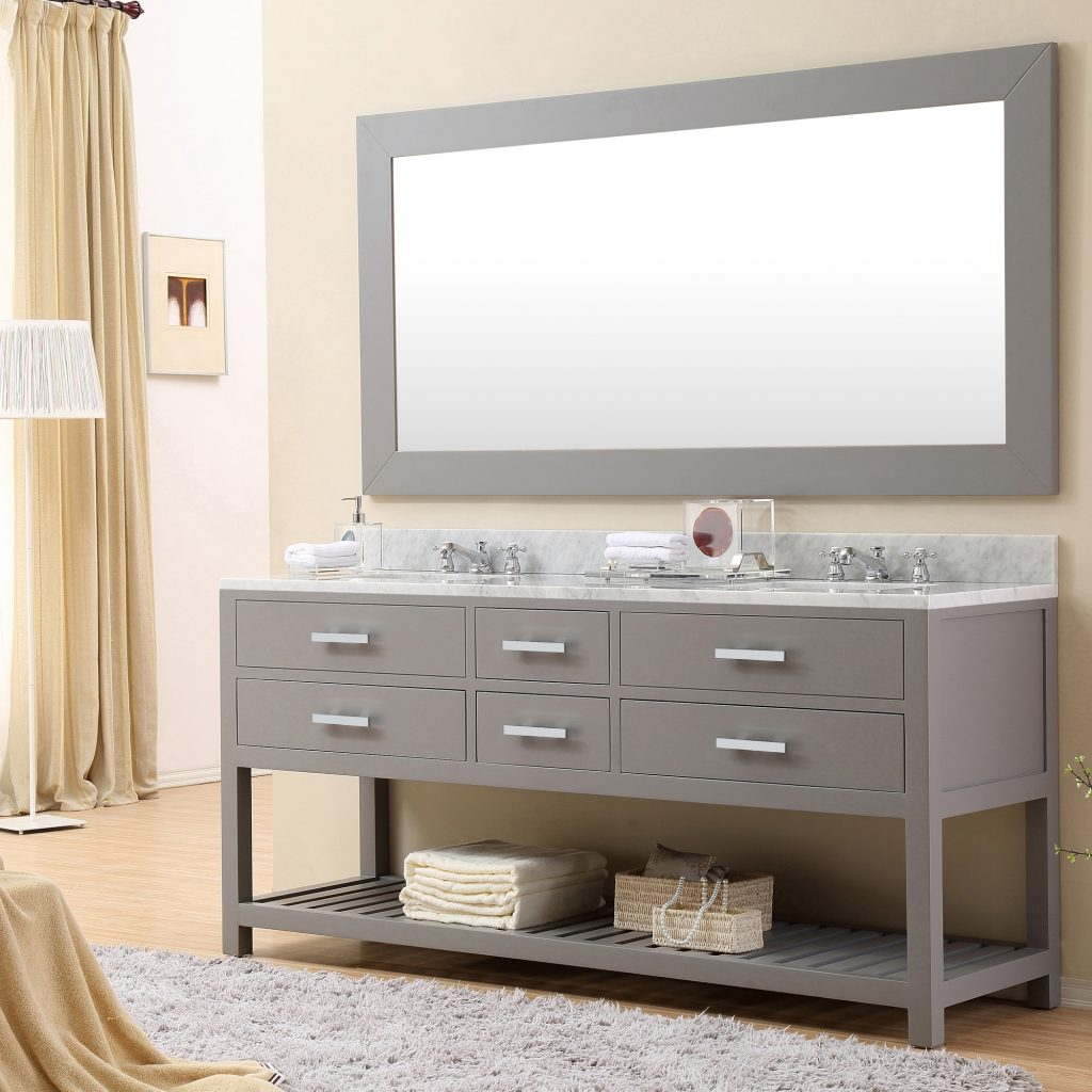Attractive Double Mirror Bathroom 8 Cadale 72 Inch Gray Finish Sink