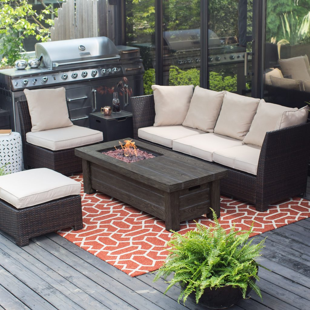 Attractive Rectangle Propane Fire Pit Liberal Outdoor Pits