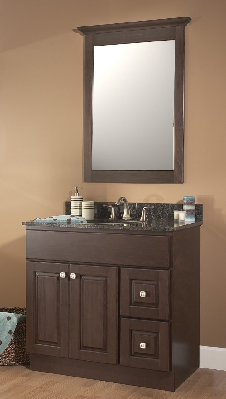 Bahtroom Calm Wall Paint For Small Bathroom With Dark Brown Compact