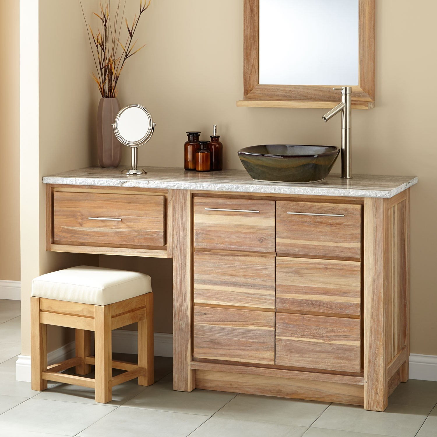 Bathroom 60 Inch Bathroom Vanity Single Sink With Makeup Area Modest Layjao