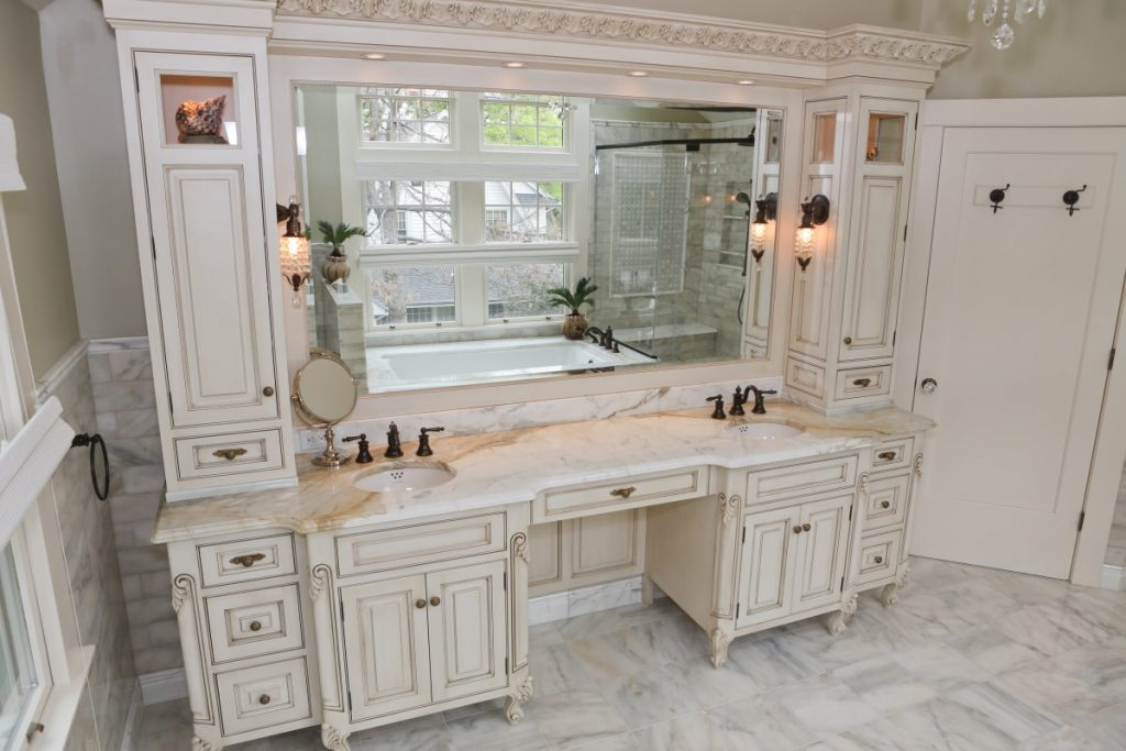 Bathroom Likable Double Bathroom Vanity With Makeup Area Cabinets
