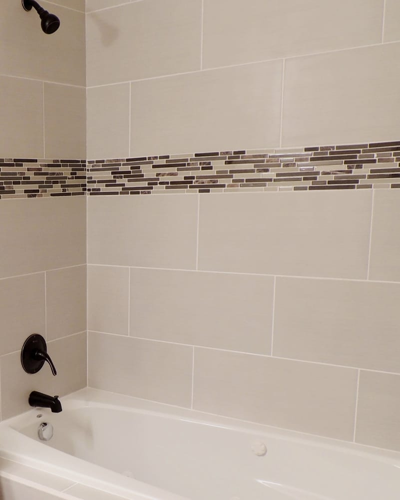 Bathroom Remodel Glass Tile Accent 12 X 24 Wide Plank European