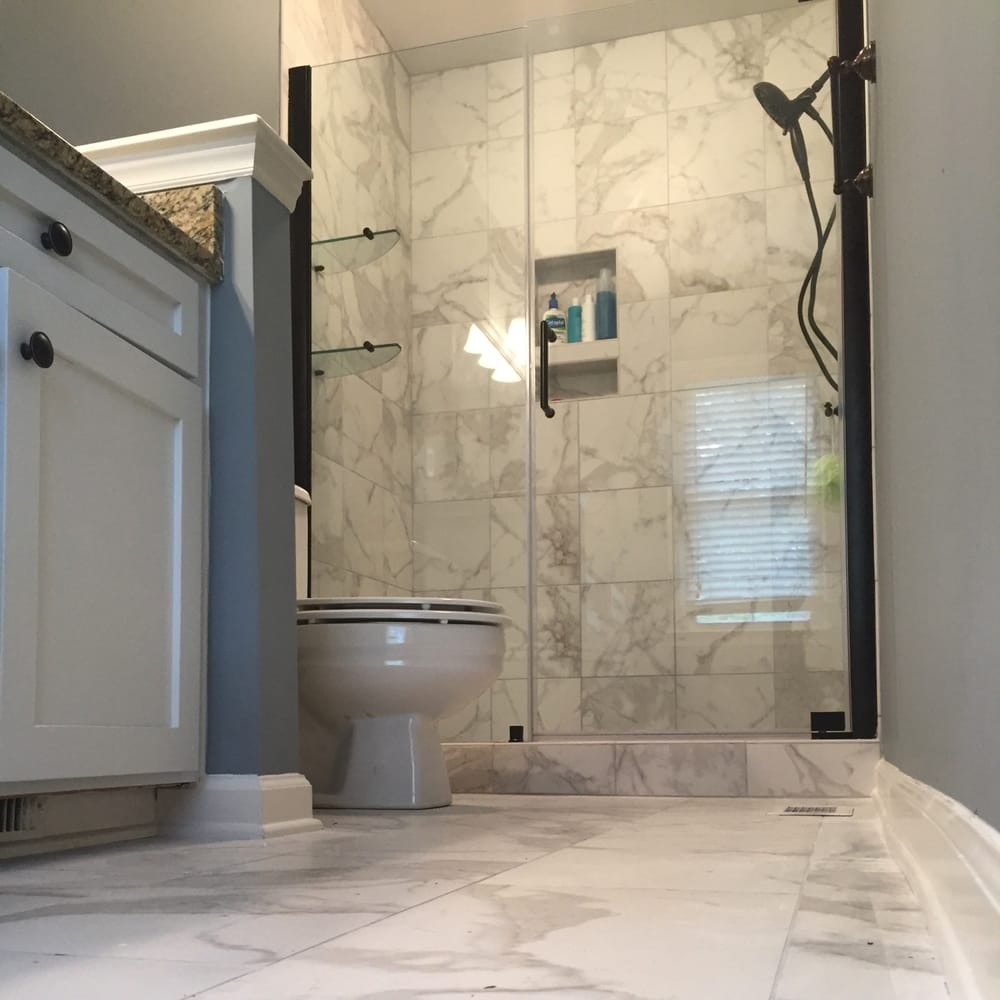 Bathroom Remodel With Faux Marble Tile Its Porcelain Made To Look