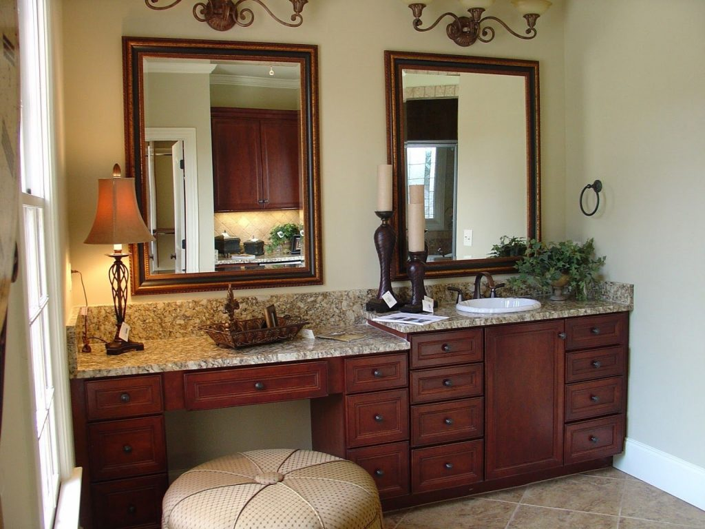 Bathroom Sit Down Vanity One Sink Vanity Within The Master