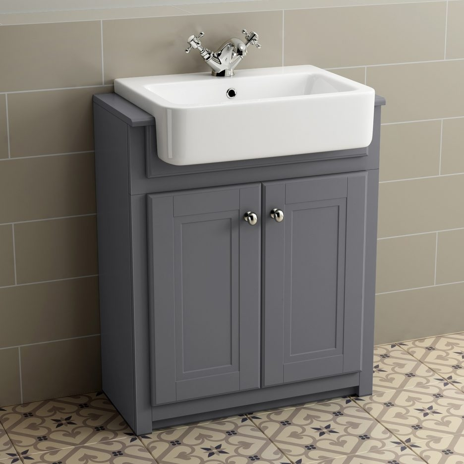 Bathroom Vanity Unit With Sink Sinks Traditional Grey Basin