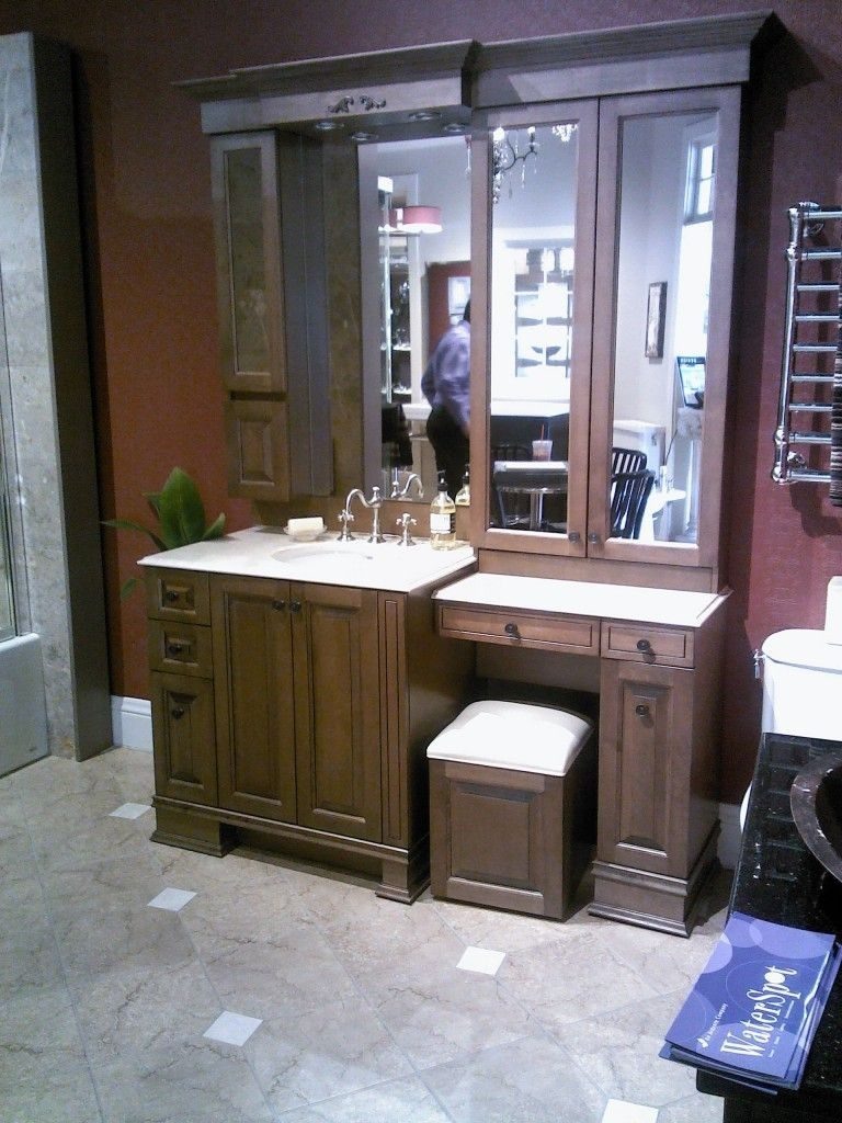 Bathroom Vanity With Makeup Vanity Attached Makeup Mirrors