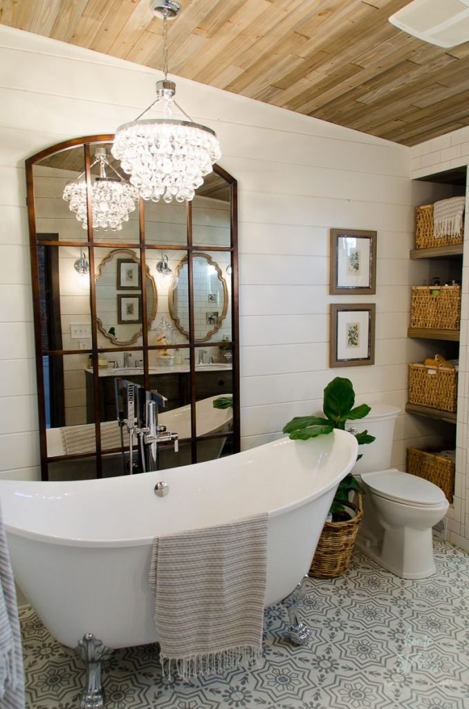 Beautiful Urban Farmhouse Master Bathroom Remodel Cedar Walls Master