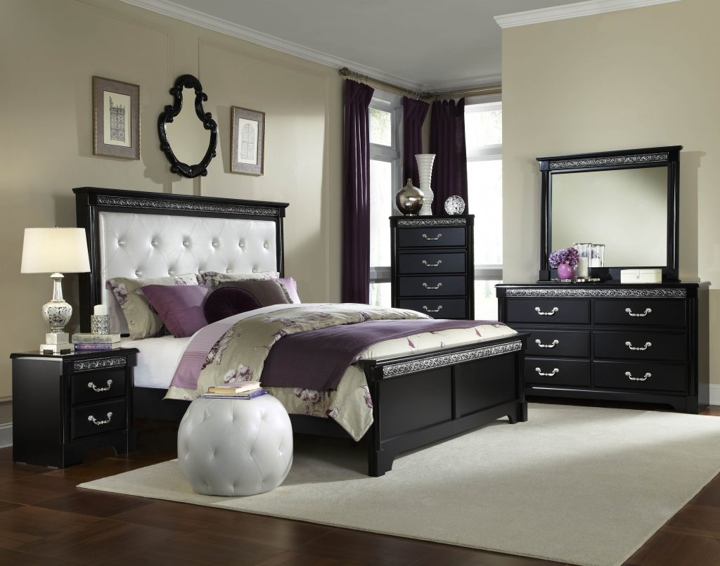 Bedroom Furniture Glass Antique White Master Cherry Queen Bed Poster