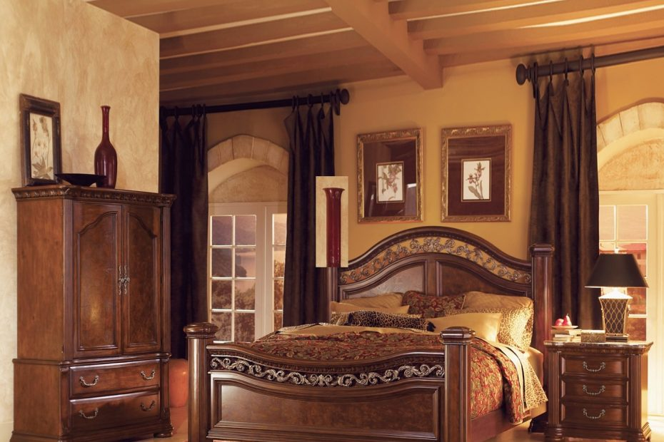 Bedroom Furniture Set With Armoire Leather Lighted Headboard Chair