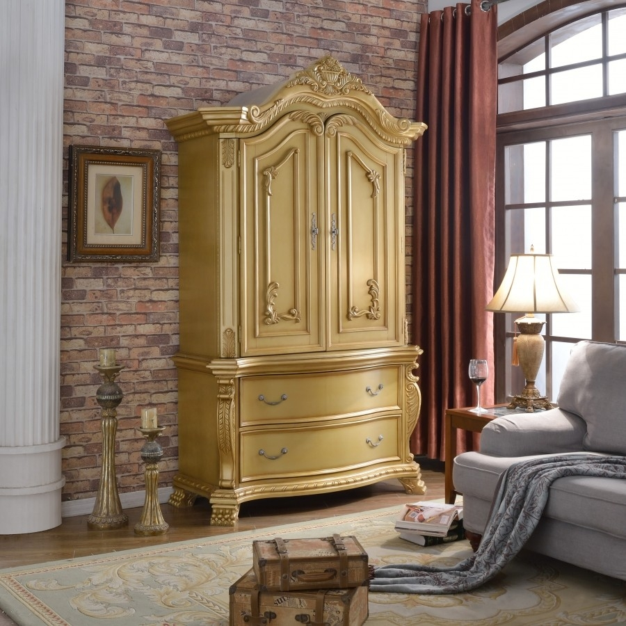 Bedroom Furniture Set With Armoire Wood Lighted Headboard Closet