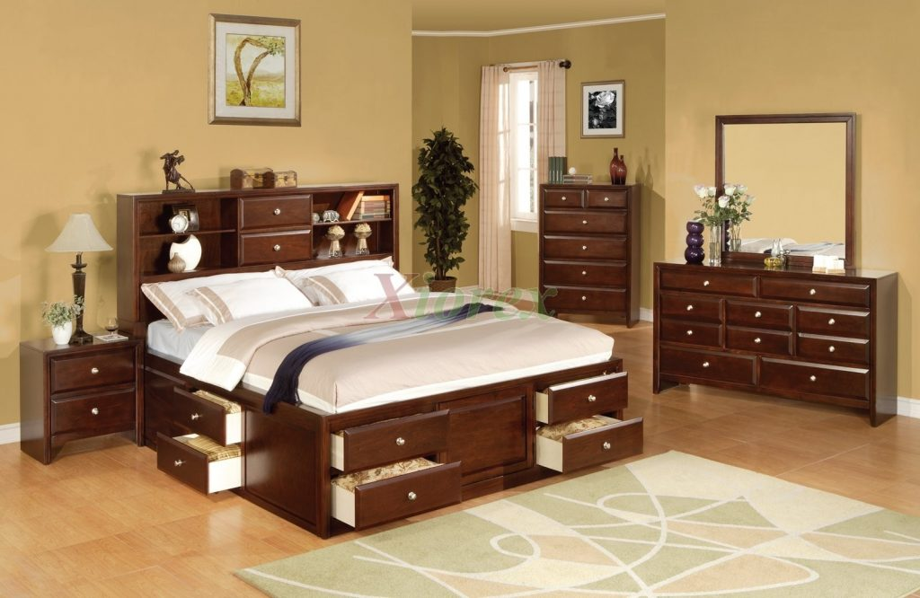 Bedroom Furniture Storage Right View Of White King Single Size Bed