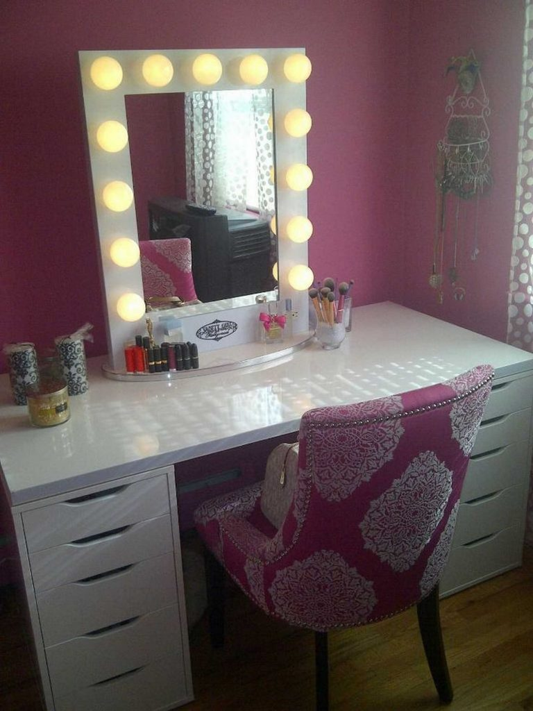 Bedroom Vanity With Drawers Ideas Charming Set Lights Collection