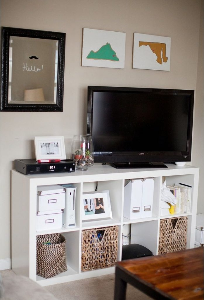 Bedroom Wall Tv Stand Cabinet With Recessed Lighting Idea For Design
