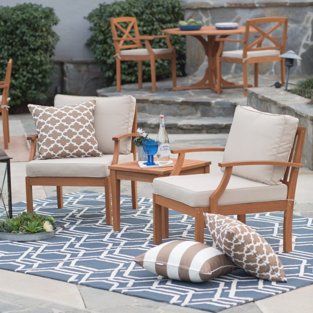Belham Living Brighton Outdoor Wood Deep Seating Chat Set From