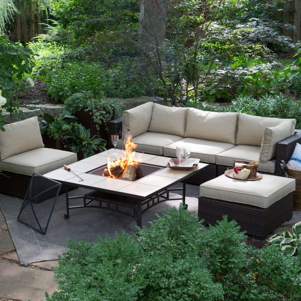 Belham Living Marcella All Weather Wicker 50 In Fire Pit Chat Set
