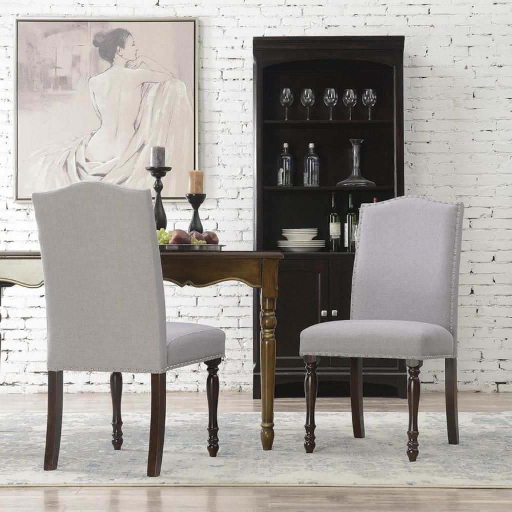 Belleze Upholstered Accent Dining Chair Classic Parsons Linen