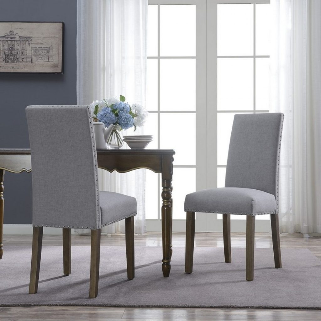 Belleze Upholstered Dining Chair Parsons Linen Fabric Nail Head
