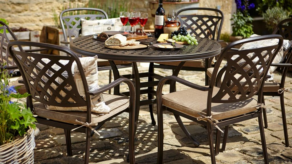 Berkeley 6 Seat Round Set Bronze Berkeley Cast Aluminium Garden