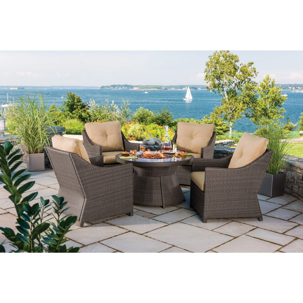Berkley Jensen Antigua 5 Piece Wicker Fire Pit Chat Set Bjs