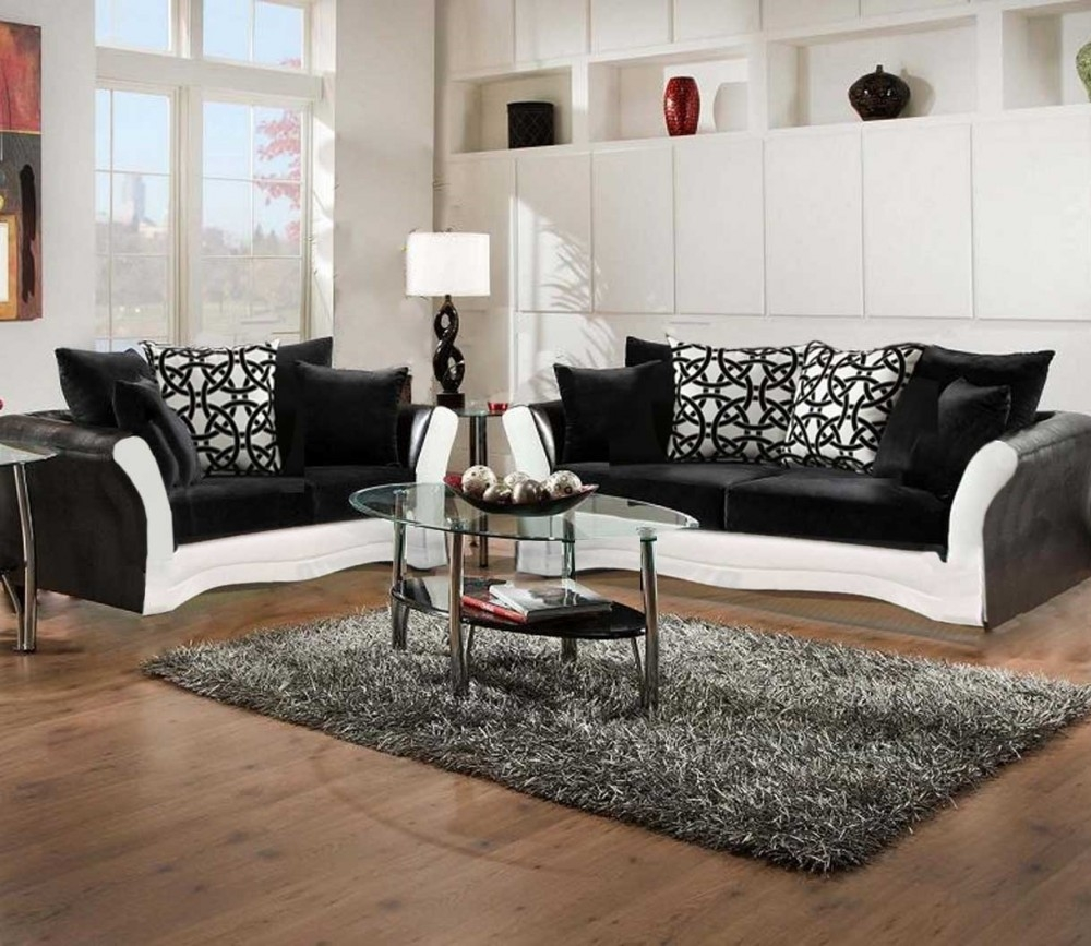 Black And White Sofa And Love Living Room Set 8000 Black And White