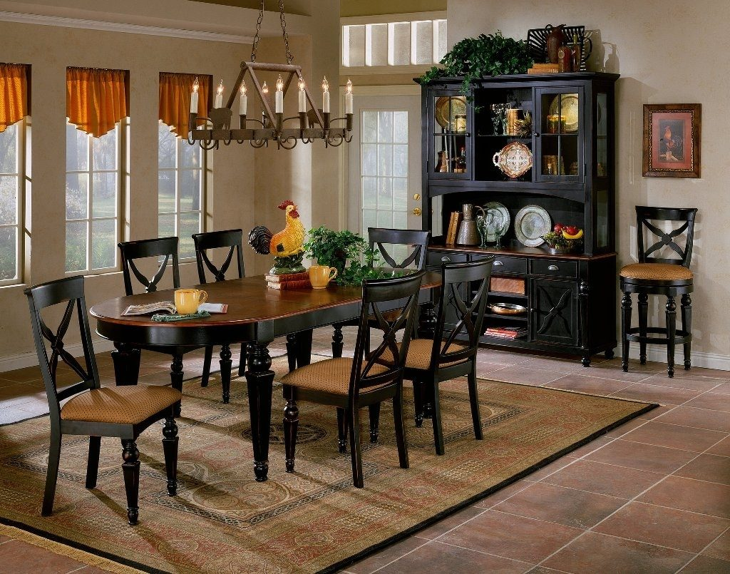 Black Hutch Set And Wonderful Wooden Dining Room Table Using Orange