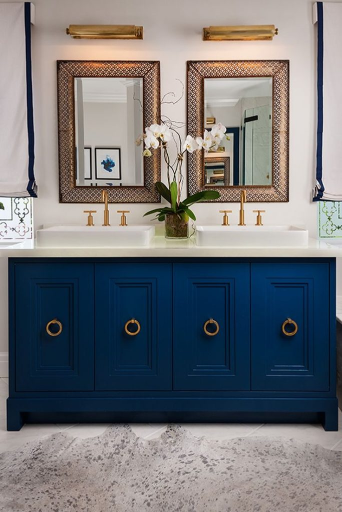 Blue Bath Vanity Modern Bathroom Decoration
