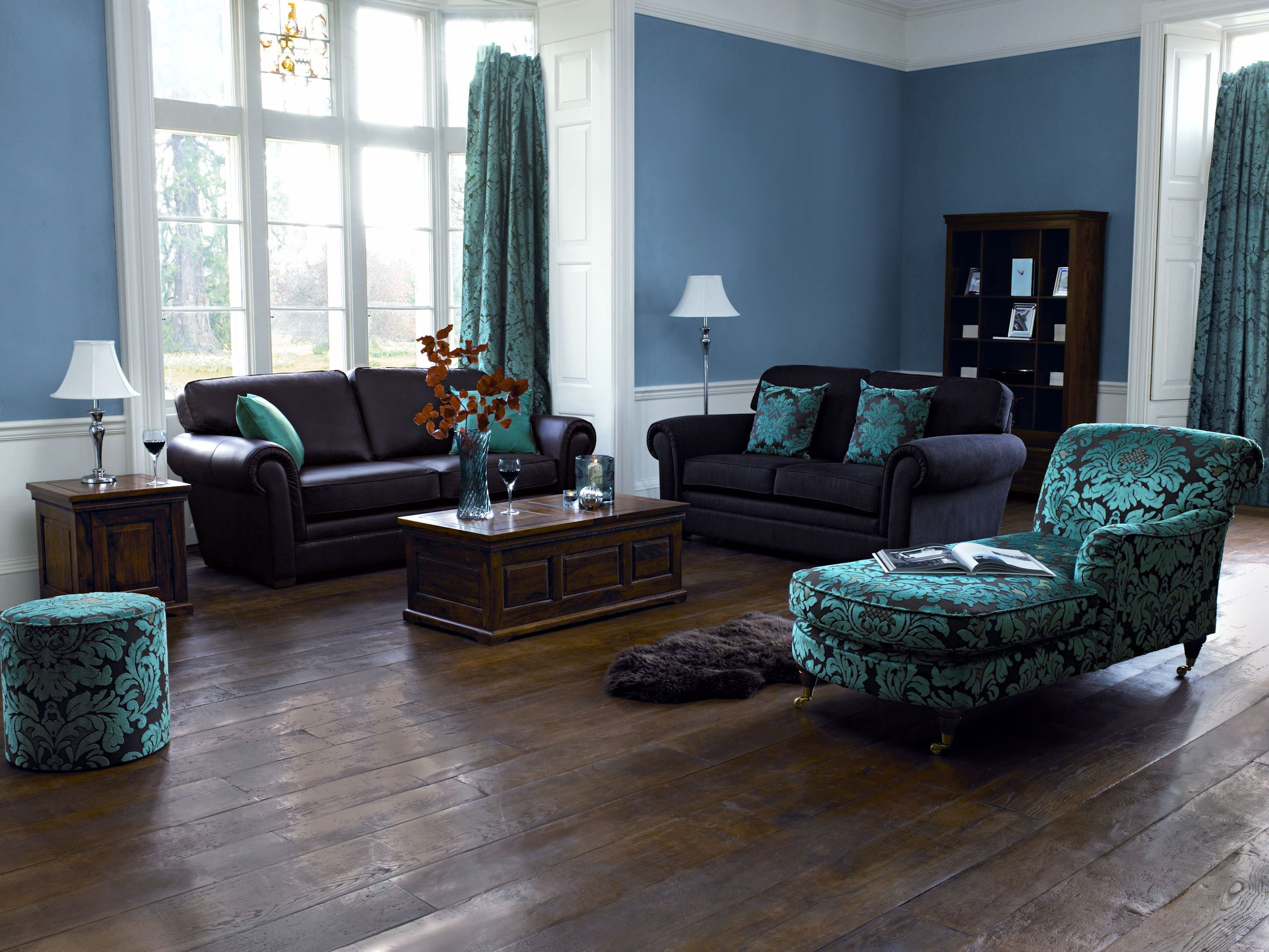 Blue Paint Color Ideas For Living Room With Dark Furniture And Dark Layjao